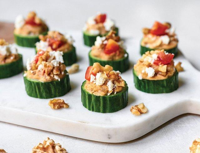 Greek Cucumber Walnut Bites