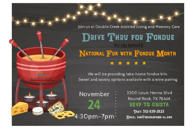 Drive Thru for Fondue at Double Creek Assisted Living and Memory Care