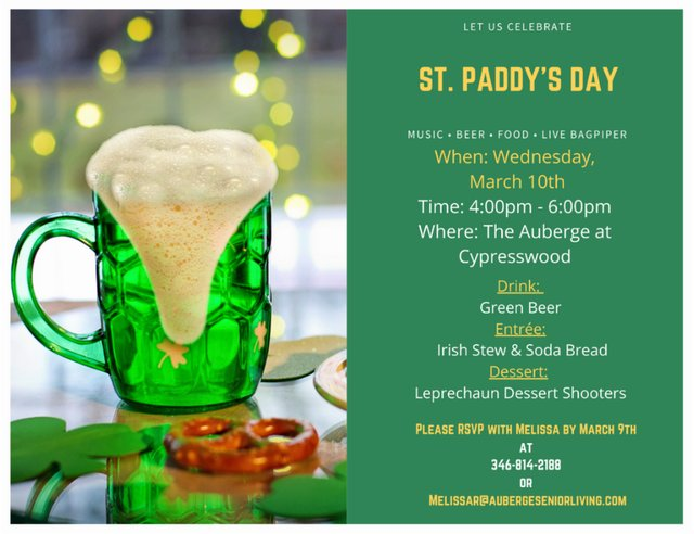 Celebrate St. Paddy's Day with The Auberge at Cypresswood
