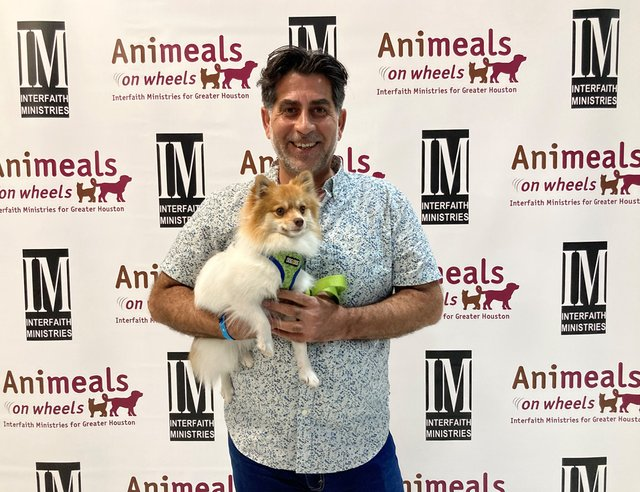 Virtual Wags & Whiskers Brunch 2021_Peoples Choice Winner_Ali Al Sudani_chief programs officer for Interfaith Ministries for Greater Houston_with his Pomeranian CoCo