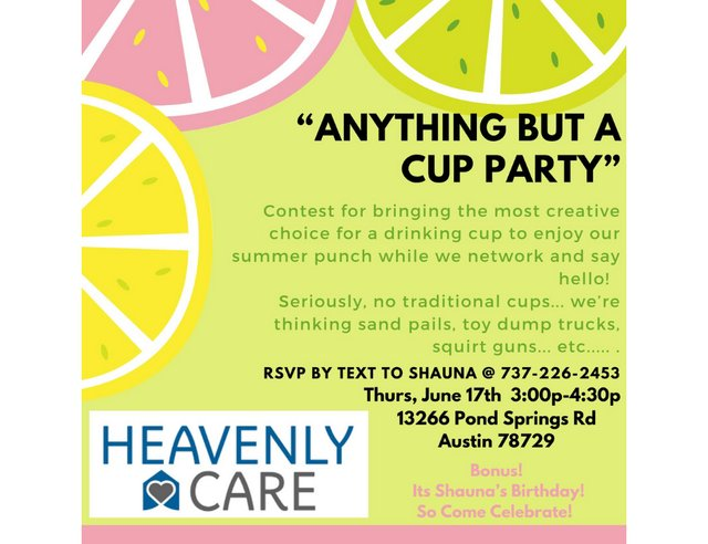 Anything But a Cup Party at Heavenly Care